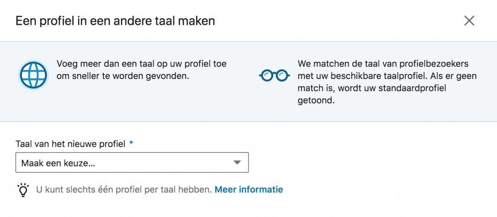 Screenshot van LinkedIn waarop je kunt zien waar je een secundair taal profiel kunt instellen